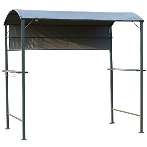 Outsunny Outdoor Metal Smoking BBQ Gazebo Tent Marquee Garden Patio BBQ Grill Canopy Shelter with Side Awning