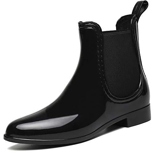 SAGUARO Damen Kurzschaft Stiefel Gummistiefel Gummistiefeletten Regenstiefel Chelsea Boots,Schwarz -...