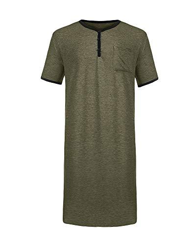 Gemijacka Herren T-Shirts Super Lange Herren Kurzarm T-Shirt Herren Baumwolle Nachthemd Sommer Einteiliger Schlafanzug T-Shirt Pyjama-B-grün-3XL