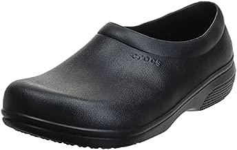 Crocs Unisex Men's and Women's On The Clock Clog | Slip Resistant Work Shoes, Black, 11 US Men/ 13 US Women