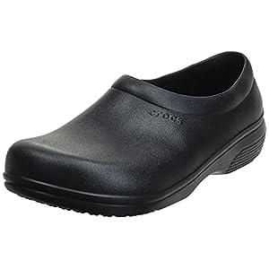 Crocs Unisex Men's and Women's On The Clock Clog | Slip Resistant Work Shoes, Black, 6 US