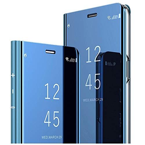 Galaxy A50 Hülle Mirror Samsung Galaxy A40 Handyhülle Flip Clear View Samsung Galaxy A30 Spiegel Schutzhülle mit Standfunktion Case Cover PU Handy Schutz Handyhülle (Samsung Galaxy A40, Blau)