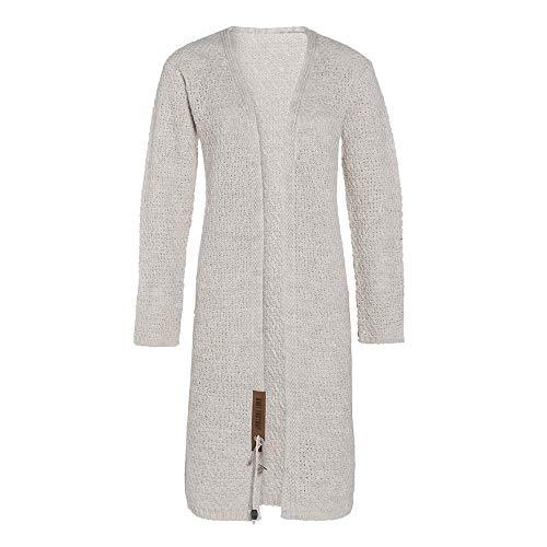 Knit Factory - Luna Lange Strickjacke - Damen Strickjacke mit Taschen - Cardigan mit Wolle - Hochwertige Qualität - Beige - 40/42
