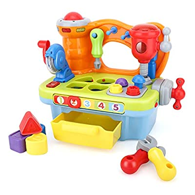 Zooawa Workbench Toy Kits, Multifunctional Workbench Toy with Tools Musical Learning Workbench Tool Kits with Sound and Lights & Shape Sorter Tools Educational Workbench Toy Set for Kids, Colorful