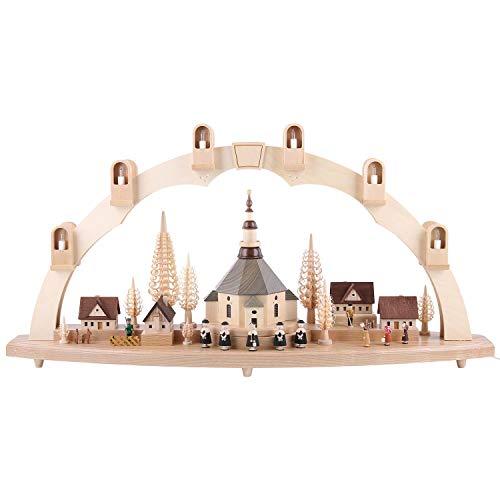 Schwibbogen Seiffener Kirche mit Dorf - 80 x 41 cm - Original Erzgebirge Schwibbögen - Richard Glässer