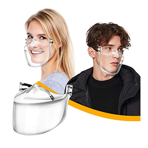 Koippimel 1Pc, Clear Face_Mask_Shield Reusable, Washable Transparent_Masks with Lanyard & Holder, for Restaurant, Fast Food, Chef, Deaf and Hearing Impaired People, Lip Reading, 1201 Style_155