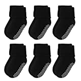 VWU 6 Pack Baby Socks with Grips Toddler Kids Unisex Thick Cotton Socks 0-6T (Black, 4-6T)