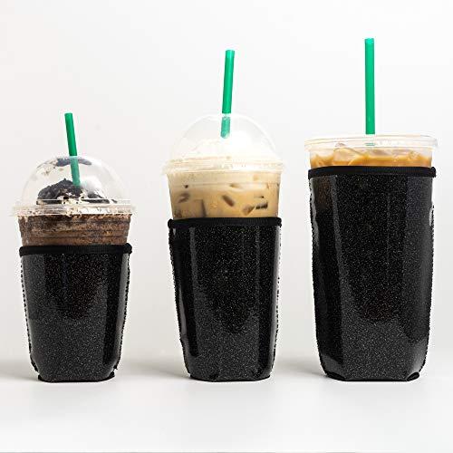 Wiederverwendbare, isolierte Neopren-Hülle für Eiskaffee-Getränke, Getränkehalter für Starbucks-Kaffee, McDonalds, Dunklin-Donuts, Tim Hortons und mehr Casual 3 Pack Sm-Md-Lg Schwarz Glitter