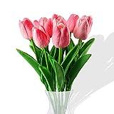 Fiore Artificiale Fiore Finto, Bouquet di Tulipani per la Decorazione Della Casa,Tulipano Materiale in Lattice Vero Matrimonio Stanza Famiglia Alberghi Festa DIY al operto Decorazione10 Pezzib (Rosa)