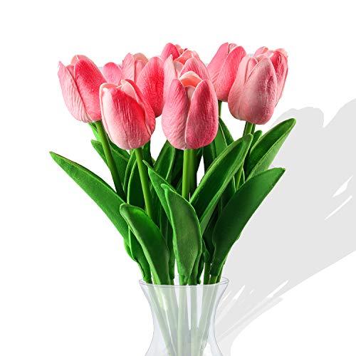 Flores de tulipán Artificiales,10 Piezas Real Touch Artificial Látex Tulipanes Flores Tulipanes Falsos Flores Ramos de Boda Flor Tulipán para Boda Hogar Jardín Decoración (Rosa)
