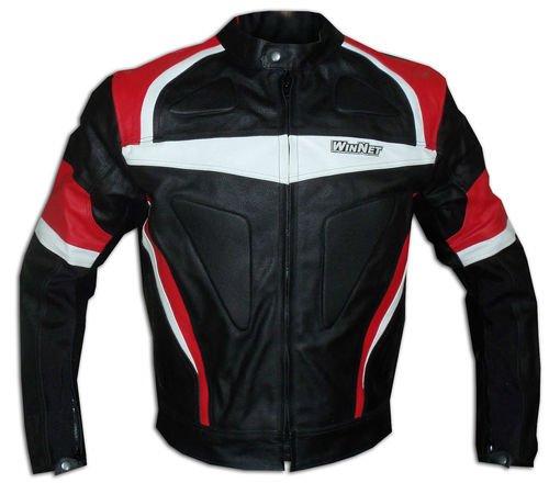 WinNet giacca giubbotto da per moto in pelle con protezioni OMOLOGATE CE