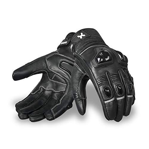 Royal Men Gear Premium Leder Motorrad Motorradhandschuhe Touchscreen-Handschuhe mit Knöchelschutz Rennhandschuhe Reithandschuhe … (Racing Black, Medium)