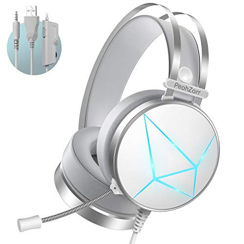PeohZarr Gaming Headset PS4 Headset Xbox One Headset, 7.1 Surround Sound, PC Headset with Crystal Clear Mic, White Headset, Compatible with Xbox One Controller(Adapter Not Included), PS4, PS5