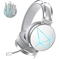 PeohZarr Gaming Headset with Surround Sound, Mic & Large Ear Pads (White)