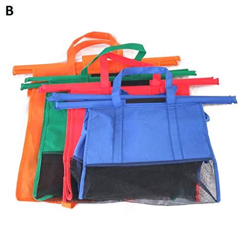 SSYY Återanvändbara shoppingvagnväskor, set med 4 påsar vikbara shoppingväskor för mataffärsvagn, 2 olika alternativ