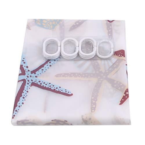JOOFFF Starfish Print Duschvorhang Wasserdicht Mehltau Waschbar Bad Trennvorhang Dekoration Zubehör, 120 * 180