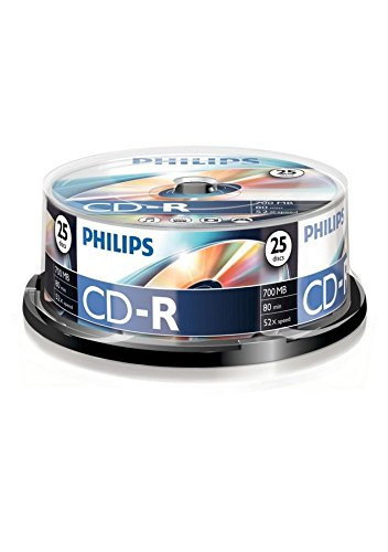 Philips CD-R CR7D5NB25/00 - CD-R vírgenes, 700 MB, 80 min, 52x, pack de 25