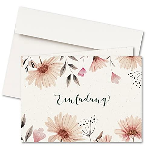 FRUITPRINTS CherryCards - 20er Set Einladungskarten & Umschläge - Klappkarten Format A6 (Blumenwiese)