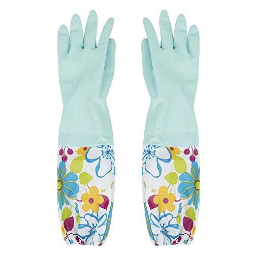 Lange Arme Gummihandschuhe Haushalt Wasserdicht Waschhandschuhe Latex Warm Futter Reinigung Handschuhe für Teichrinnenabfluss Reinigung