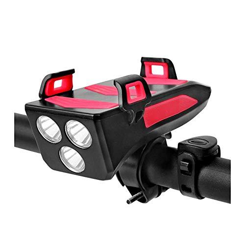Luci Bicicletta LED, Luce Bici MTB Accessori Bici Luci Ricaricabili USB, 4 in 1 Impermeabile Luci per Bicicletta con Clacson, Porta Cellulare Bici, 4000mAh Power Bank con 3 modalità di Llluminazione