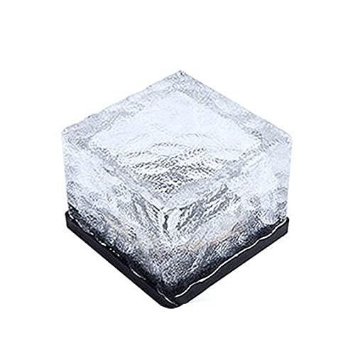 Paquete de 4 luces de ladrillo de vidrio solar, luces solares de hielo con luces LED, luces de paisaje al aire libre enterradas para jardín, camino, patio, césped, decoración del festival