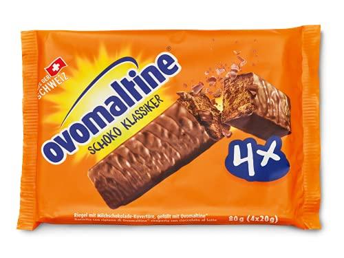 Ovomaltine Schoko Klassiker - Schoko-Riegel aus Schweizer Vollmilch Schokolade und Ovomaltine mit feinstem Kakao-Pulver, nachhaltig und UTZ-zertifiziert, 4 x 20 g