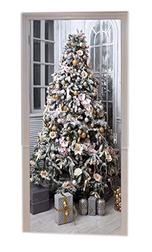 A.Monamour Weihnachtsdekore Geschenkboxen Unter Kiefer Mit Kugeln Bändern Ornamente Drucken Vinyl Zimmertür Aufkleber Tapete Wandbilder Tür Aufkleber Poster