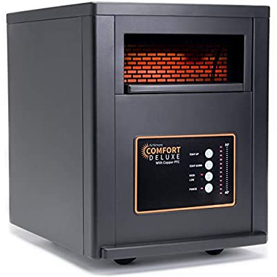 AirNmore Comfort Deluxe with Copper PTC, Infrared Space Heater with Remote, 1500 Watt, ETL Listed