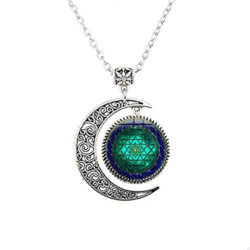 Collar de la luna de loto de Sri Yantra, joya de arte de geometría sa