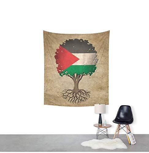 DJSK Árbol de la Vida de la Vendimia con la Bandera de Palestina Tapiz de Pared Decoración decoración del Dormitorio 150 * 130 cm