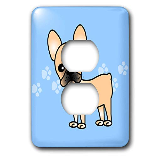 3dRose lsp_25344_6 Cute Masked Fawn Cream French Bulldog Pawprints Outlet Cover, Blue Black