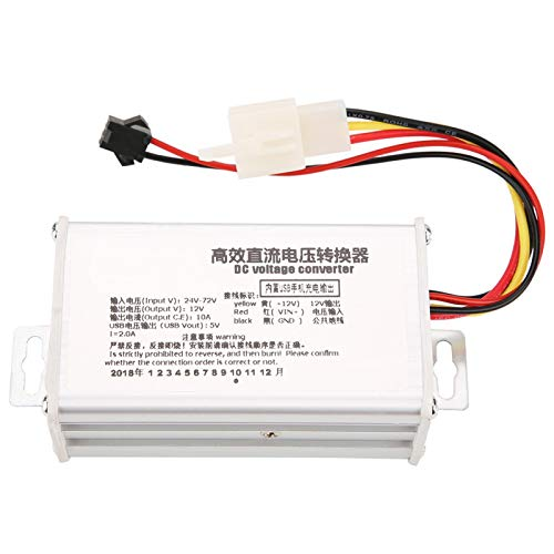 Convertidor de CC, módulo de fuente de alimentación reductor 24V-72V a 12V10A Salida USB 5V2A para teléfonos celulares, banco de energía, dispositivos electrónicos
