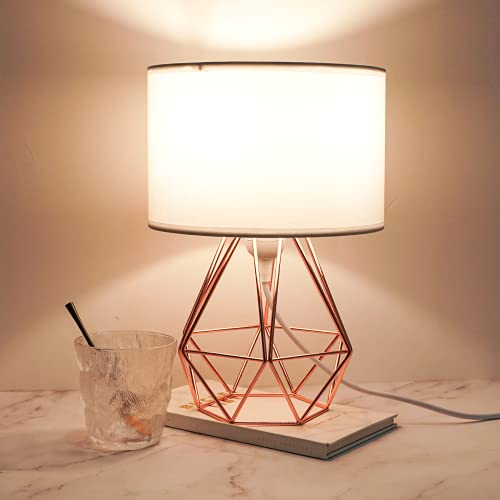 Frideko Modern Table Lamp - Minimalist Industrial Desk lamp, Metal Geometric Wire Cage Base with 25CM Fabric Lampshade on/Off Switch for Living Room Bedroom Children's Room Kids Gift