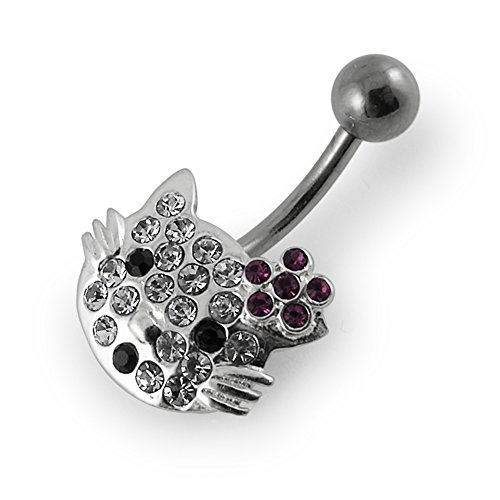White Gemstone Fancy Multi Crystal Hello Kitty 925 Sterling Silver with Stainless Steel Belly Button Rings