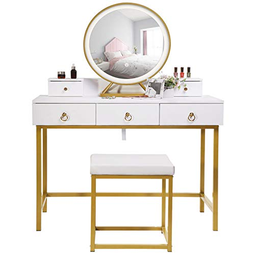 """Iwell Large Vanity Table Set with 3 Color Lighted Mirror, 39.4"""" L Makeup Table with 5 Drawers & Padded Cushioned Stool, Dresser Desk with Metal Legs for Bathroom, Bedroom, White"""