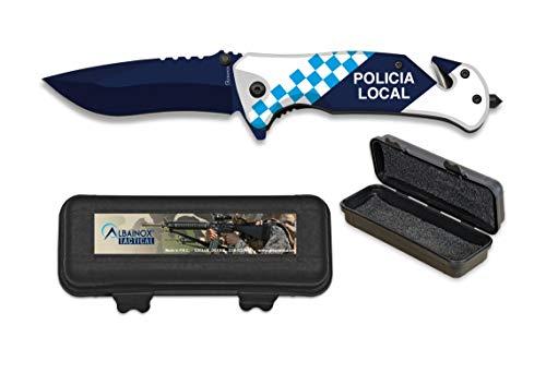 Policía Local - Cuchillo Táctico Plegable Albainox + Caja ABS - Navaja de Seguridad con Punta Rompe Vidrio y Cutter para el Cinturón de Seguridad