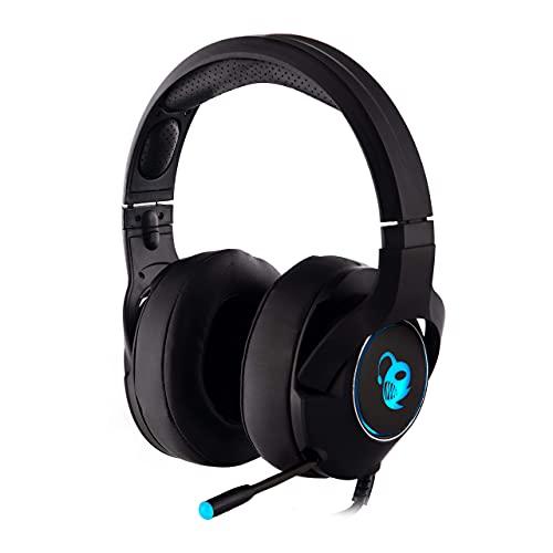 CoolBox DeepChroma – Auriculares gaming con micrófono retráctil, iluminación RGB. Cascos gaming compatibles con PC, PS4 y Xbox One (incluye adaptador jack 2 en 1, USB para iluminación)