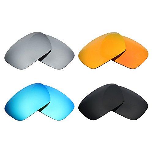 MRY 4Paar Polarisierte Ersatz Gläser für Oakley Badman sunglasses-stealth schwarz/fire rot/ice blau/silber titan