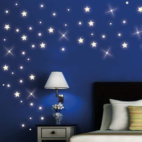 Wandtattoo-Loft 40 Stück nachtleuchtende Sterne und Punkte für einen tollen Sternenhimmel in Kinderzimmer oder Schlafzimmer (fluoreszierend)