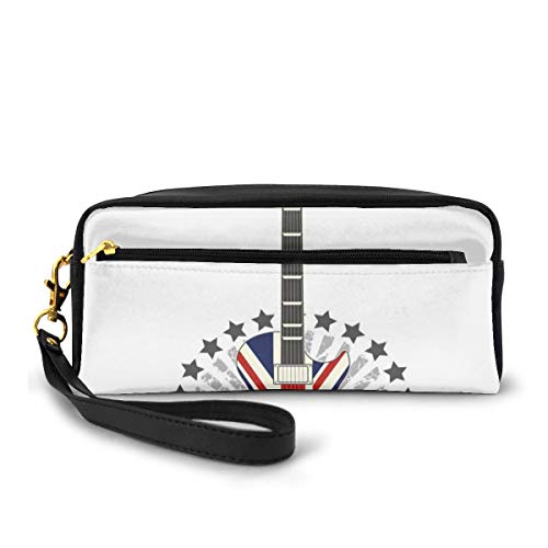 Pencil Case Pen Bag Pouch Stationary,Union Jack Patterned Guitar Stars Union Jack Design Musical Instrument,Small Makeup Bag Coin Purse