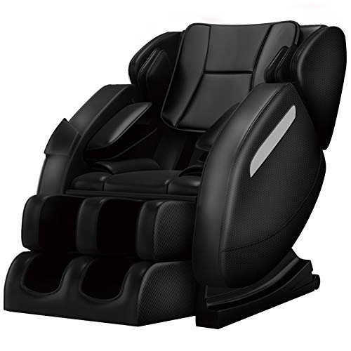 Zero Gravity Full Body Massage Chair Recliner Built-in Bluetooth Neck Shoulder Back Waist Foot Roller Lower-Back Heating (Black)