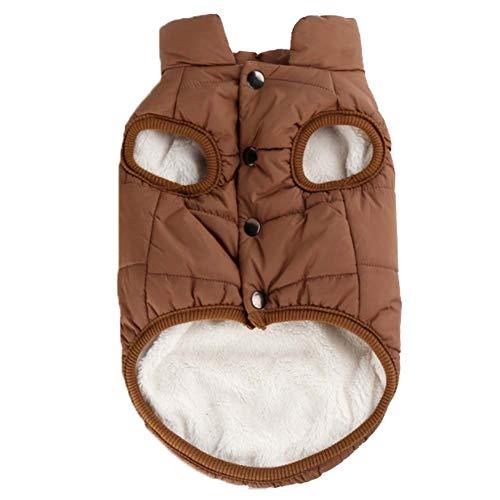 KSITH kleding voor honden voor huisdieren, dikke kleding van katoen, mantel voor huisdieren, honden, warm vest voor kleine honden, S, Bruin