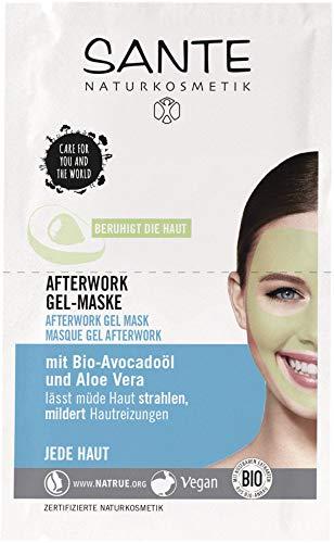 SANTE Naturkosmetik After Work Gel-Maske, Gesichtsmake mit Bio-Avocadoöl und Aloe Vera, lässt müde Haut strahlen, mildert Hautreizungen, Vegan, 8 ml