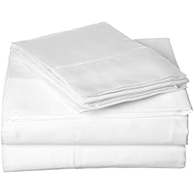 SGI bedding QUEEN SHEETS LUXURY SOFT 100% EGYPTIAN COTTON - Sheet Set for Queen Mattress White SOLID 600 Thread Count Deep Pocket