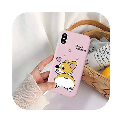 Cute Cartoon Dog Corgi Phone Case For iPhone 11Pro 12 XS MAX XR 7 X 6 8Plus Love Heart Pink Silicone Soft Back Cover Bag-Style 1-For iPhone 8 Plus