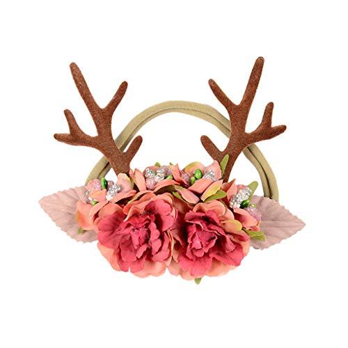 Baby Kinder Weihnachten Haarreif Mädchen Blumen Geweihe Kostüm Haarband Rentier mit Blüten Rentiergeweih, Goldene Glocke Haarbänder Stirnband für Karneval, Geburtstagsparty, Fotografie-Zubehör