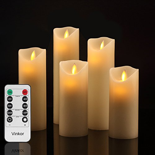 Vinkor Flameless Candles Battery Operated Candles Set Decorative Flameless Candles 4' 5' 6' 7' 8' Classic Real Wax Pillar with Moving LED Flame & 10-Key Remote Control 2/4/6/8 Hours Timer