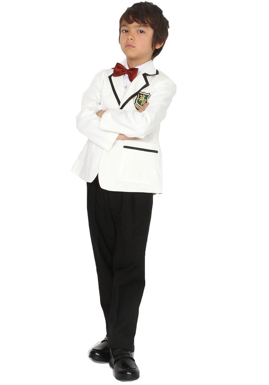 ドリーム企画 子供スーツ6点セットsu-0009エンブレム付きホワイトキッズ 子どもフォーマル スーツ