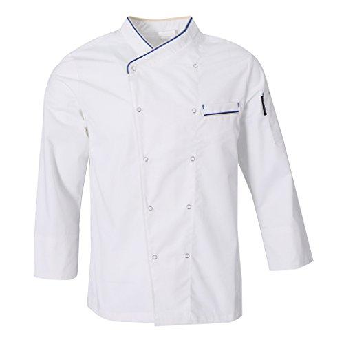 Fenteer Donna Uomo Top Giacche da Chef Camicie Da Cuoco Abbigliamento da Lavoro Ristorazione - Bianca, M