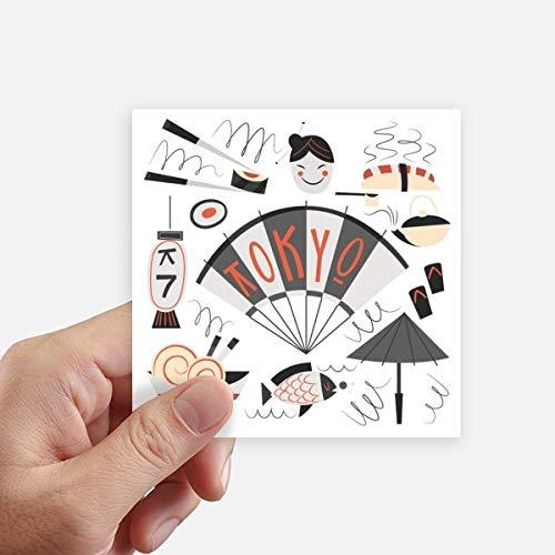 DIYthinker Sushi Geisha Japon Tokyo Japonais Autocollant carré 10CM Mur Valise pour Ordinateur Portable Motobike Decal 8Pcs 10Cm X 10Cm Multicolor